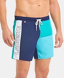 Men's Colorblock Lightweight Mid Length Swim Trunks
