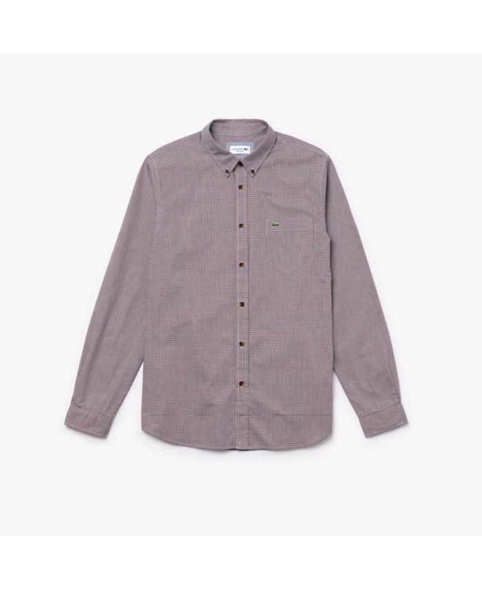Lacoste Men's Regular Fit Long Sleeve Gingham Check Poplin Shirt & Reviews - Casual Button-Down Shirts - Men - Macy's