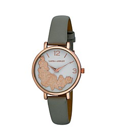 Women's Floral Bounty Gray Polyurethane Strap Watch 38mm