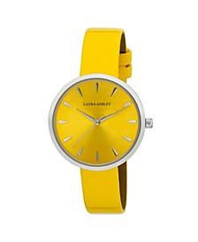 Women's Case Yellow Polyurethane Strap Watch 36mm