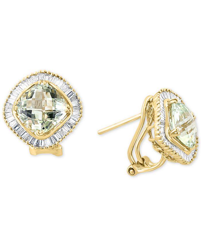 LALI Jewels - Green Quartz (4 ct. t.w.) & Diamond (5/8 ct. t.w.) Stud Earrings in 14k Gold