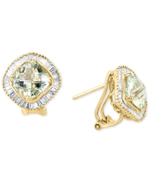 Green Quartz (4 ct. t.w.) & Diamond (5/8 ct. t.w.) Stud Earrings in 14k Gold