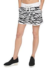 Sport Zebra-Print Roll-Cuff Shorts