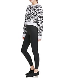 Sport Zebra-Print Long-Sleeve Cropped T-Shirt