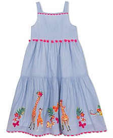 Big Girls Cotton Embroidered Safari Animals Dress