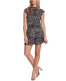 Leopard-Print Smocked-Trim Mini Dress
