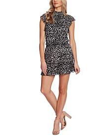 Leopard-Print Smocked-Trim Mini Dress