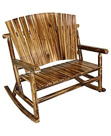 2-Person Rustic Fir Wood Log Cabin Rocking Loveseat