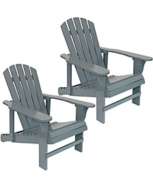 Wooden Outdoor Adirondack Chair with Adjustable Backrest Set of 2
