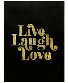 """Live Laugh Love Gallery Wrap Gold-tone Stamped Canvas, 24"""" x 18"""" x 1.5"""""""