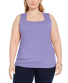 Plus Size Cotton Square-Neck Tank Top, Created for Macy's