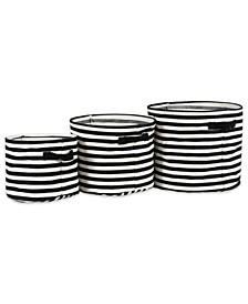 Polyethylene Coated Herringbone Woven Cotton Laundry Bin Stripe Round Set of 3