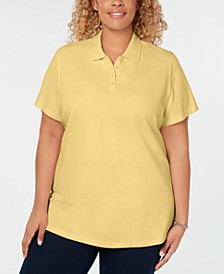 Plus Size Cotton Polo Top, Created for Macy's