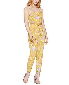 Smocked Floral-Print Jumpsuit