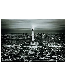 "Paris Night Frameless Free Floating Tempered Glass Panel Graphic Wall Art, 32"" x 48"" x 0.2"""
