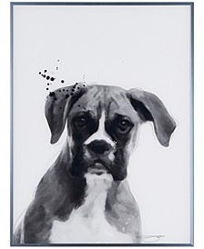 """Boxer Pet Paintings on Reverse Printed Glass Encased with a Gunmetal Anodized Frame Wall Art, 24"""" x 18"""" x 1"""""""