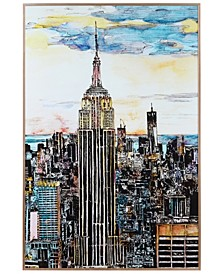 "Empire State Building Colorful Drawing on Reverse Printed Art Glass and Anodized Aluminum Frame Wall Art, 36"" x 24"" x 1"""