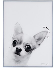 "Chihuahua Pet Paintings on Reverse Printed Glass Encased with a Gunmetal Anodized Frame Wall Art, 24"" x 18"" x 1"""