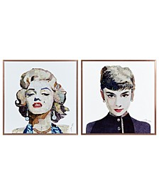 """Homage to Marilyn Audrey on Reverse Printed Art Glass and Anodized Aluminum Frame Glass Wall Art, 16"""" x 16"""" x 1"""""""