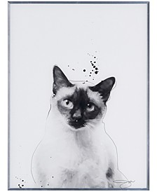 """Siamese Pet Paintings on Reverse Printed Glass Encased with a Gunmetal Anodized Frame Wall Art, 24"""" x 18"""" x 1"""""""
