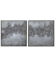 "Fog Textured Metallic Hand Painted Wall Art Set by Martin Edwards, 36"" x 36"" x 1.5"""