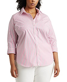 Plus-Size Striped Easy Care Shirt
