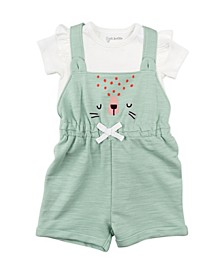 Baby Girl 2-Piece Shortall Set