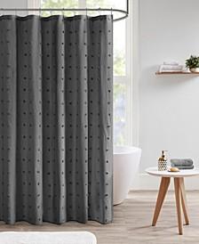 """Brooklyn Jacquard Pom Pom Shower Curtain, 70"""" W x 72"""" L"""
