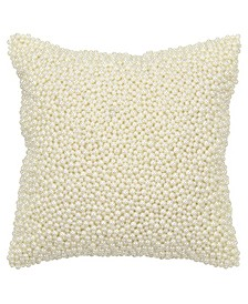 """Imitation Pearl Beaded Decorative Pillow Cover, 12"""" x 12"""""""