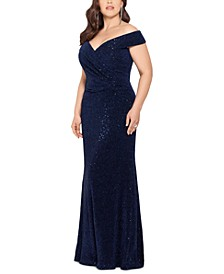 Plus Size Off-The-Shoulder Sparkle Gown