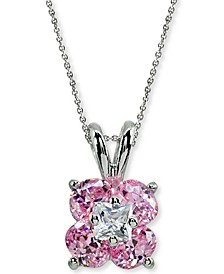 """Cubic Zirconia Flower Cluster 18"""" Pendant Necklace in Sterling Silver, Created for Macy's"""