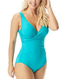 Pavilion Draped V-Neck Underwire One-Piece Swimsuit