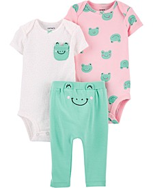 Baby Girls 3-Pc. Cotton Frog Bodysuits & Pants Set