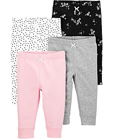Baby Girls 4-Pk. Cotton Pull-On Pants