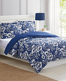 Sketch Floral 3-Pc. Full/Queen Comforter Set, Created for Macy's