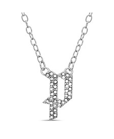 "Women's Silver-Tone Rhinestone ""P"" Initial Necklace"