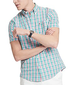 Men's Custom-Fit Taron Seersucker Check Short Sleeve Shirt