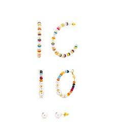 Rainbow Beads Duo Hoop and Stud Earring Set