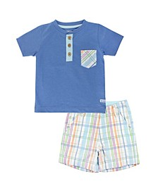 Toddler Boys Pocket Henley and Plaid Shorts Set