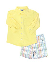 Toddler Boys Button Down Shirt and Plaid Shorts Set