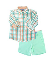 Toddler Boys Presley Plaid Shirt and Chino Shorts Set