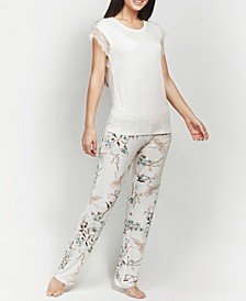 Ultra Soft Lace Trim Floral Short Sleeve Pajama Set