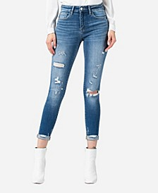 Mid Rise Roll Up Distressed Skinny Crop Jeans