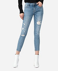 Mid Rise Distressed Skinny Crop Jeans