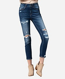 High Rise Wide Waistband Patch Stitch Skinny Ankle Jeans