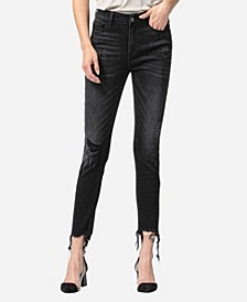 High Rise Shredded Hem Skinny Crop Jeans