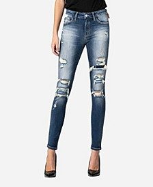 Mid Rise Distressed Contrast Patch Skinny Ankle Jeans