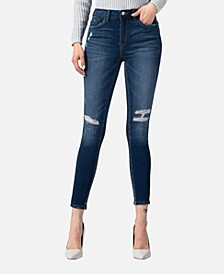 High Rise Inserted Pintuck Waistband And Pocket Band Skinny Jeans
