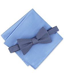 Men's Neat Bow Tie & Solid Pocket Square Set, Created for Macy's