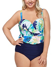 Trendy Plus Size Palm Springs Maldives Tankini Top & Costa High-Waist Bikini Bottoms